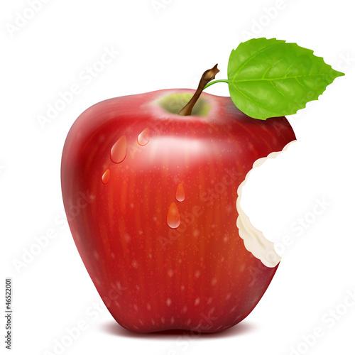 Fotografía  bitten red apple