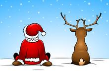 Santa Claus And A Reindeer Sit...