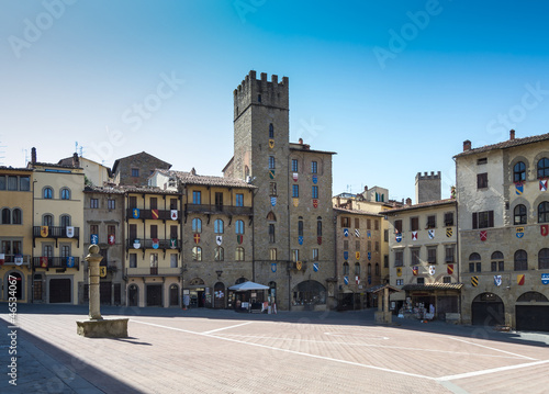 Piazza Grande di Arezzo, Toscana, Italia Canvas Print