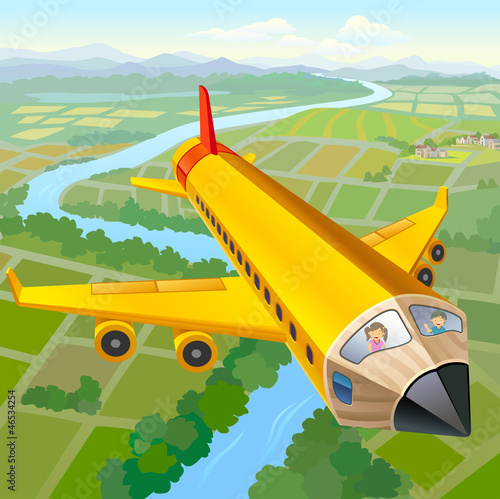 Papiers peints Avion, ballon School Children On Pencil Aeroplane Ride
