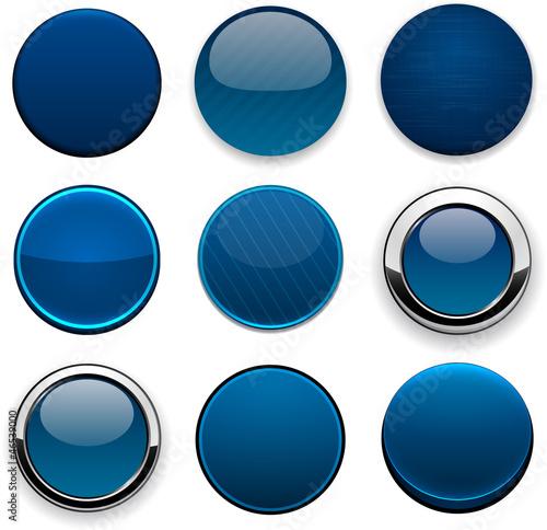 Fotografía  Dark-blue round high-detailed modern web buttons.