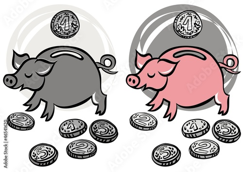 Fototapeta świnka skarbonka kolorowa i szara ilustracja finansowa obraz