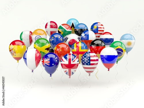 Air balloons with flags iso...