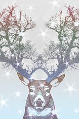 Panel Szklany Na drzwi Frozen tree horn deer
