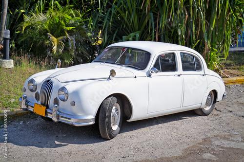 Classic white Jaguar ,Havana. Cuba