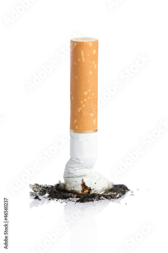 Fotografija  Cigarette butt with ash isolated on white background