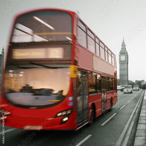 Acrylic Prints Red, black, white Double Decker Bus, Big Ben in far behind