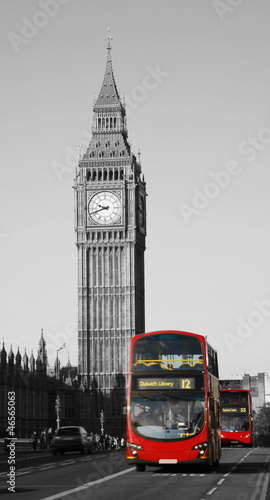 Türaufkleber London roten bus Double Decker Bus, Big Ben in far behind