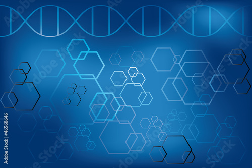 DNA strand and abstract atoms on light blue background Canvas Print