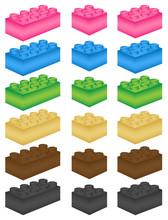 Lego Steine Vektor Set Bunt