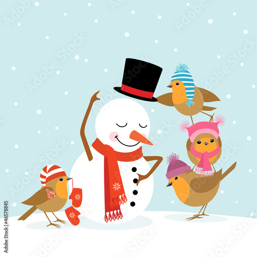 Fotobehang Vogels, bijen Robins and Snowman