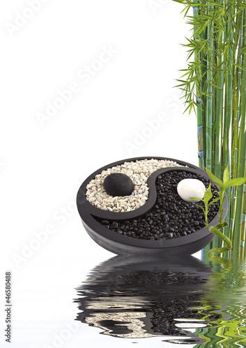 Tuinposter Boeddha yin yang bambou bien-être