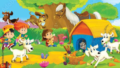 In de dag Boerderij The farm illustration for kids - many different elements