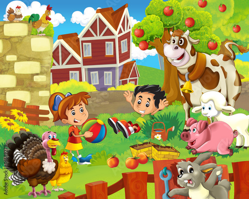Ferme The farm illustration for kids - happy and educational