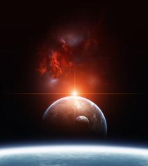 Fototapeta ziemia z czerwoną poświatą