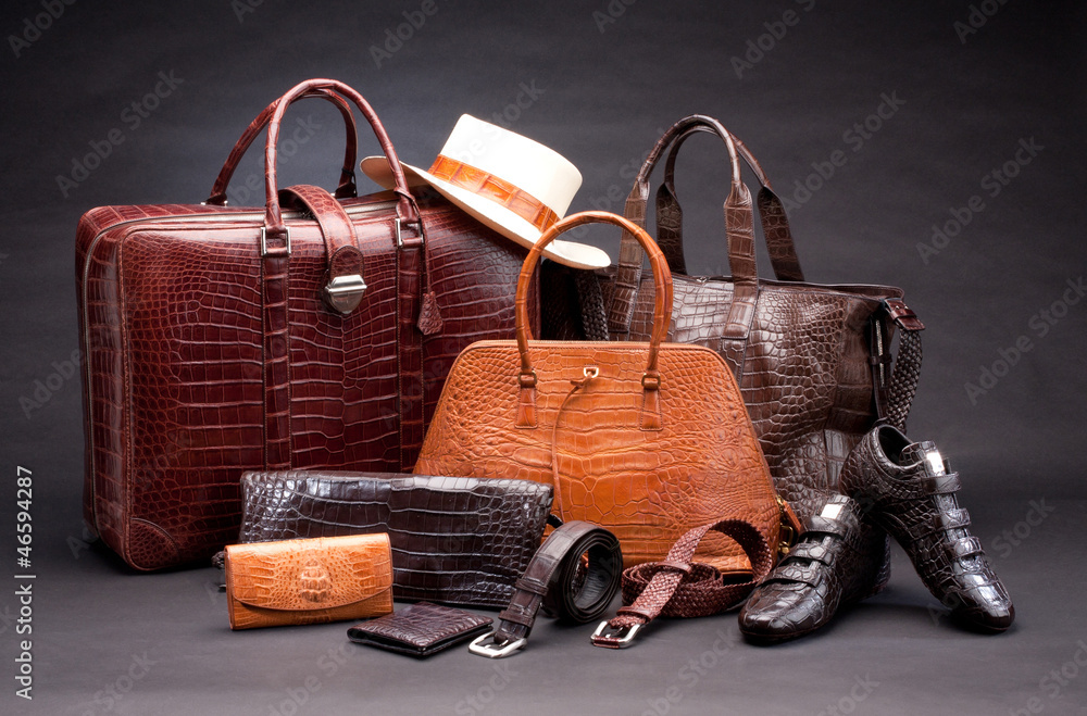 Fototapeta Set of products which made of crocodile leather