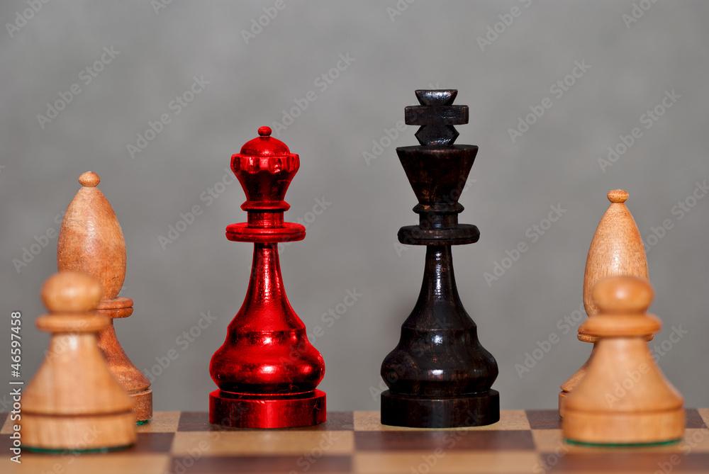Fototapeta Große Koalition auf dem Schachbrett