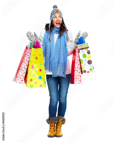 Garden Poster Fairytale World Beautiful shopping Christmas woman with bags.