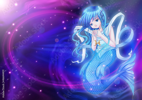 Wall Murals Mermaid Manga style of zodiac sign on cosmic background, Pisces