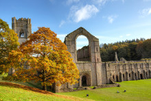 Ruins Of The Fountains Abbey In North Yorkshire.