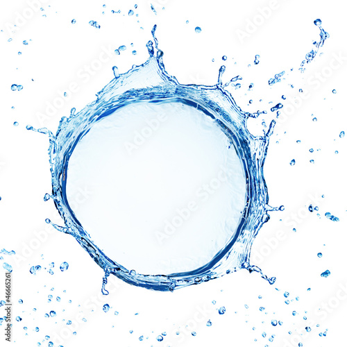 Photo sur Toile Eau water splash with ripple from top view isolated on white