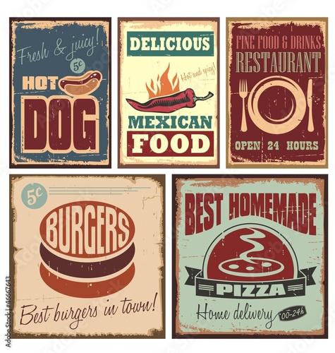 Papiers peints Affiche vintage Vintage style tin signs and retro posters
