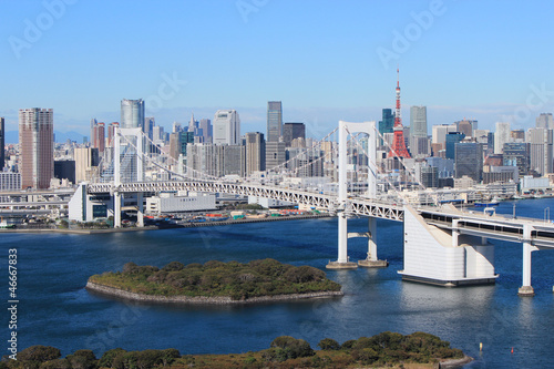 Fotobehang Tokio Rainbow bridge in Tokyo, Japan