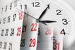 Leinwandbild Motiv Calendar Pages and Clock