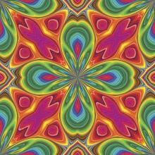 Pop Art Vector Pattern In Funky Disco Style