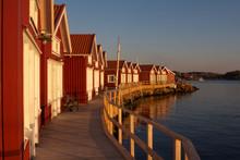 Swedish Houses In Skärhamn At Sunset