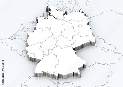 Fotografie, Obraz  Deutschland und angrenzende Länder detailgetreu