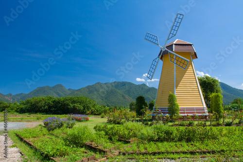 Fotobehang Molens Windmill with fog