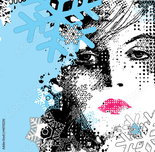 Fotobehang Vrouw gezicht abstract illustration of a winter woman
