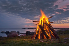 Bonfire In The Nordic Summer Night