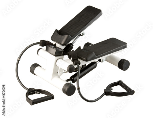 Fotografie, Obraz  Let's exercise by the stepper and accessory elastic handle