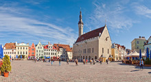 Tallinn Town Hall And Town Hall Square. Stitched Panorama