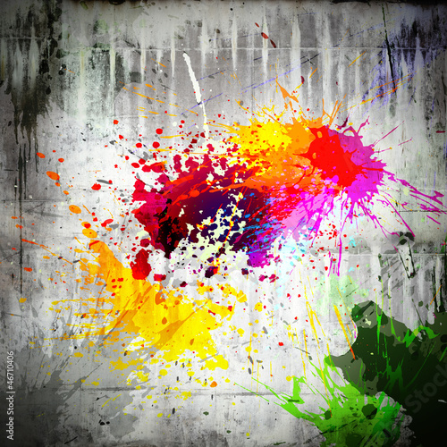 Papiers peints Graffiti ink splatter on concrete wall