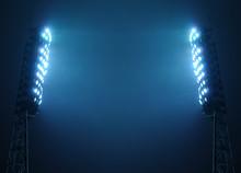 Stadium Lights Against Dark Night Sky With Copy Space