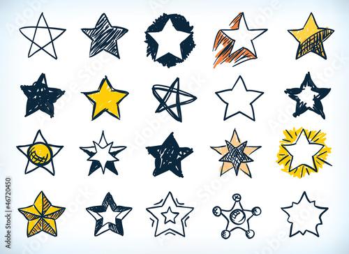 Obraz Collection of handdrawn stars - fototapety do salonu