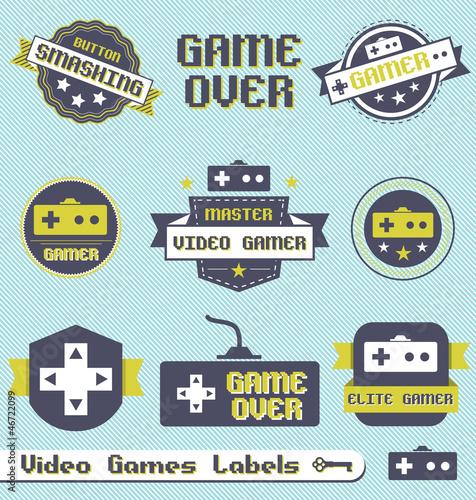 Photo  Vector Set: Vintage Video Game League Labels
