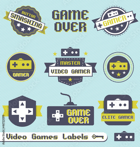 Fotografering  Vector Set: Vintage Video Game League Labels
