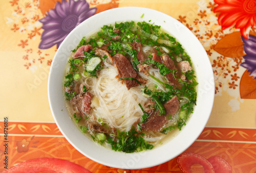 Pho Vietnamese soup with meat and noodles Canvas Print