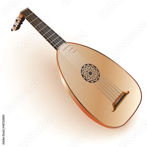 Photo A late Baroque era lute. Isolated on white background