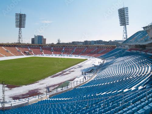 Empty stadium under snow