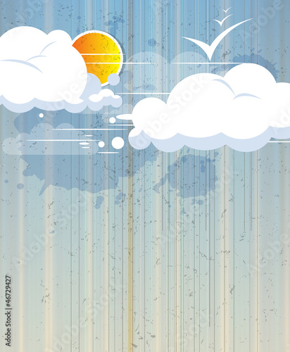 Poster Ciel sky abstract retro background with clouds and sun