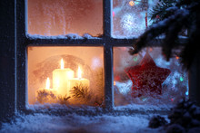 Frosted Window With Christmas ...