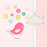 Vintage doodle bird for frame vector