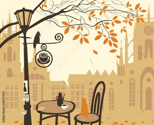 Tuinposter Drawn Street cafe landscape of the old town with a street cafe