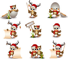 Cute Owl Christmas Cartoon Set