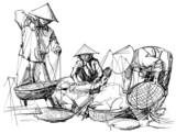 sceneria rynku w Wietnamie - 46777228